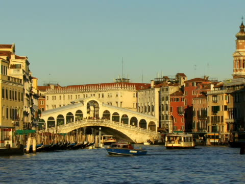 ws tour boats traveling on grand canal near rialto bridge / venice, italy - unknown gender stock videos & royalty-free footage