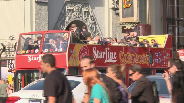 tour buses on hollywood boulevard in hollywood, california - hollywood boulevard stock videos & royalty-free footage