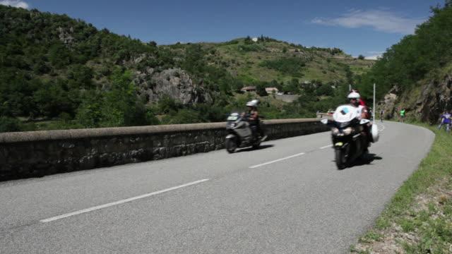 tour de france breakaway climbing the d221 from sarras to ardoix - tour de france stock videos & royalty-free footage