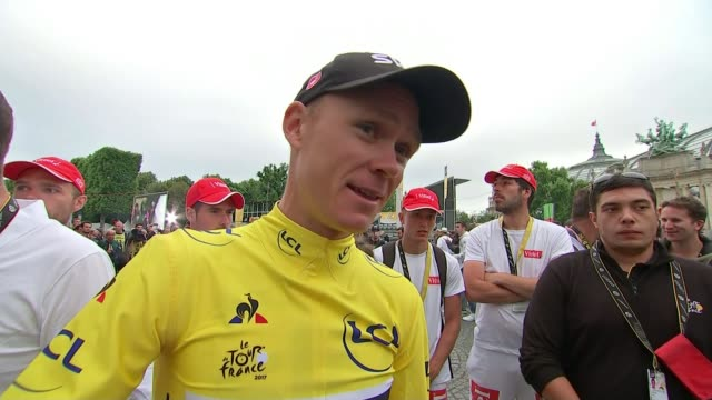 chris froome wins tour for the 4th time paris ext chris froome interview following final stage sot thoughts of his son kept him going through race - itv weekend late news点の映像素材/bロール