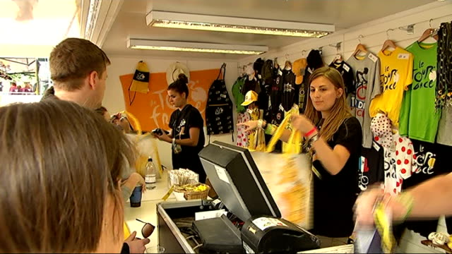 london prepares to host stage 3; england: london: trafalgar square: ext items of tour de france memorabilia for sale hoarding the the logo of the... - tour de france stock videos & royalty-free footage