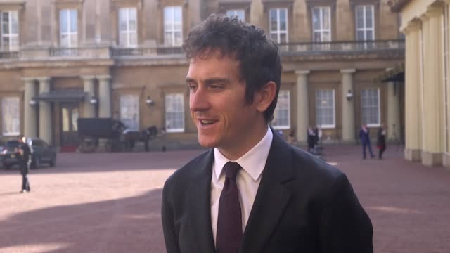stockvideo's en b-roll-footage met tour de france winner and double olympic champion geraint thomas says the duke of cambridge joked the welshman might wear cycling gear to receive an... - lycra