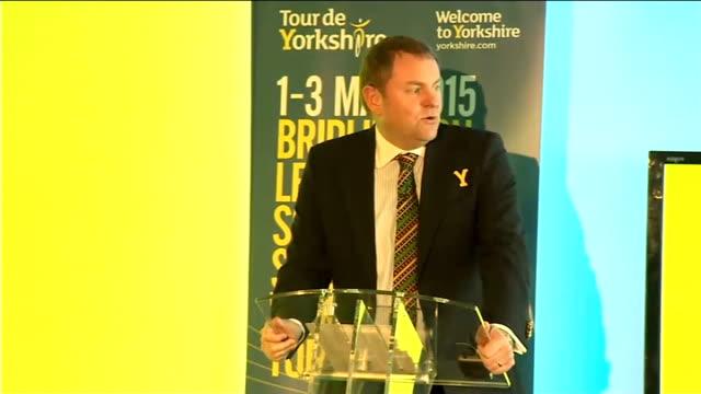 tour de yorkshire 2015 route unveiled england yorkshire bridlington int gary verity press conference sot - bridlington stock-videos und b-roll-filmmaterial