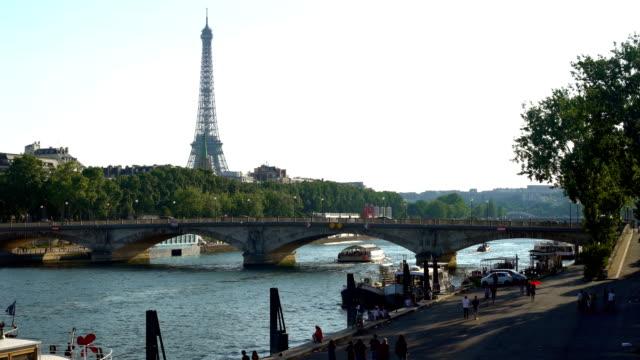 tour eiffel in paris, riverside - river seine stock videos & royalty-free footage