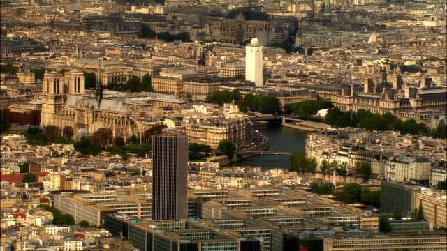AERIAL Tour Montparnasse, Notre Dame de Paris, and cityscape/ Paris, France