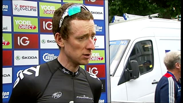 tour of britain winner bradley wiggins prepares for road world championships sir bradley wiggins interview sot - tour of britain stock-videos und b-roll-filmmaterial