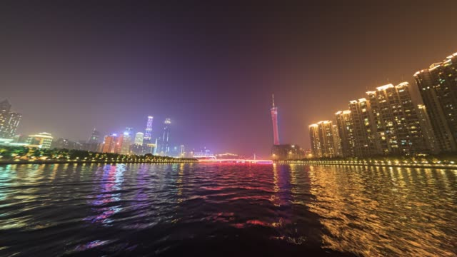 t/l tourboat on pearl river at night, guangzhou, china - tourboat stock videos & royalty-free footage