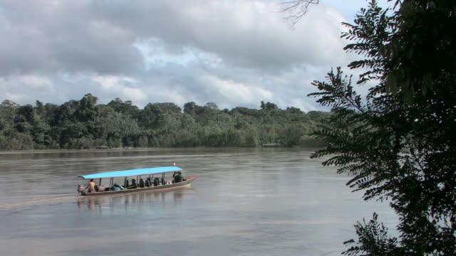 WS tourboat on river/ Manu National Park, Peru