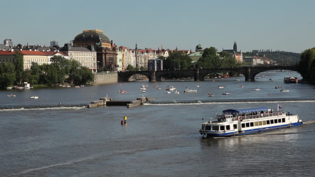 ws ha tourboat on vltava river / prague, czech republic - tourboat stock videos & royalty-free footage