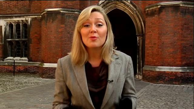 vídeos de stock e filmes b-roll de boris johnson announces grand celebration of london hampton court palace / reporter to camera boris johnson interview sot on earning money from... - tudor