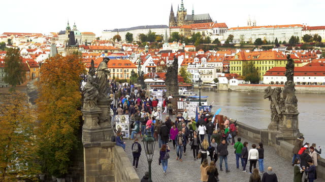 tourism on prague charles bridge - czech republic stock videos & royalty-free footage