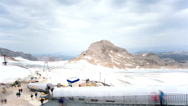 tourism on the glacier; time lapse - dachstein mountains stock videos and b-roll footage