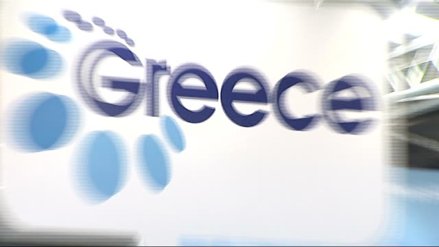 world travel market 2011 general views of greece stall england london excel centre int sign for 'visit greece' website at stall / general views of... - santorini stock videos & royalty-free footage