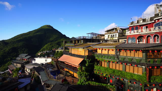 tourist and restaurant at jiufen old street, taiwan - taipei stock videos & royalty-free footage