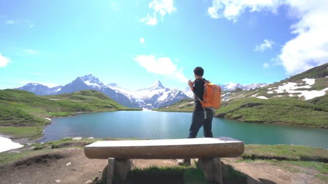 Tourist at Bachalpsee-First Grindelwald Switzerland