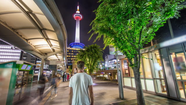 t/l 8k tourist at kyoto tower - fast motion time lapse stock videos & royalty-free footage
