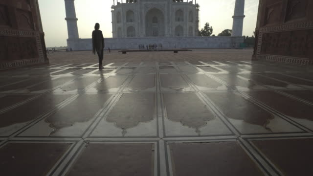 tourist at taj mahal. india. - taj mahal stock videos and b-roll footage