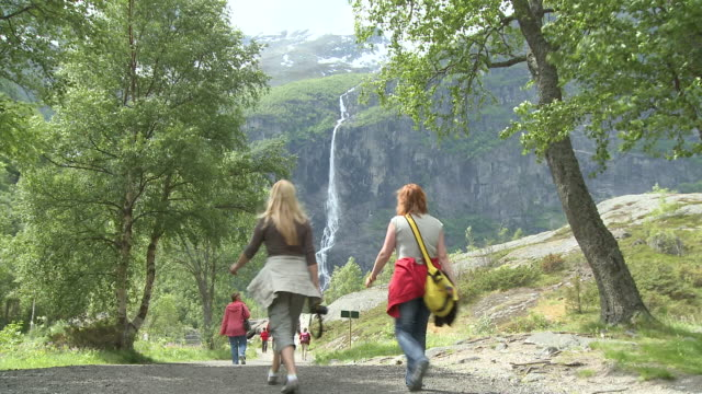 WS Tourist at valley near Briksdalsbreen / Jostedalsbreen Nationalpark, Sogn og Fjordane, Norway