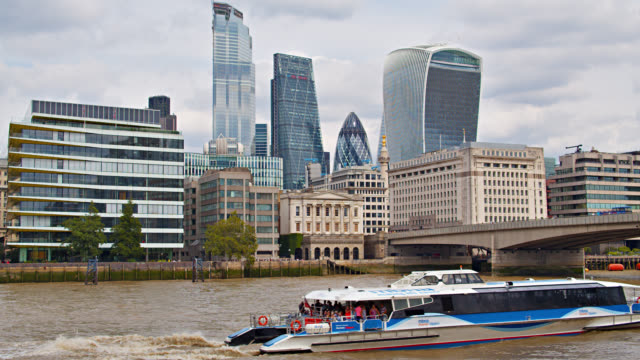 tourist boat and london financial district. tourism and travel - male likeness stock videos & royalty-free footage
