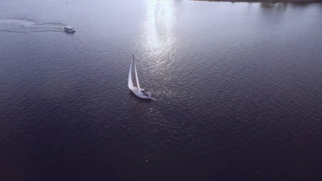 tourist boat crossing sailboat's path - sail stock videos & royalty-free footage