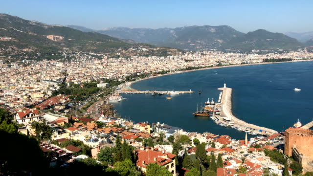 Tourist boats are seen docked in a marina on September 3 2017 in Alanya Turkey Turkey's tourism industry spiralled into crisis in 2016 after a year...