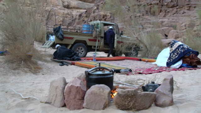 A tourist camp and dramatic sandstone mountains in Wadi Rum Desert, Jordan