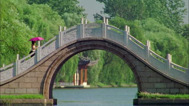 A tourist carrying a pink umbrella walks across a carved stone bridge over Shouxi Lake in Yangzhou, Jiangsu, China.