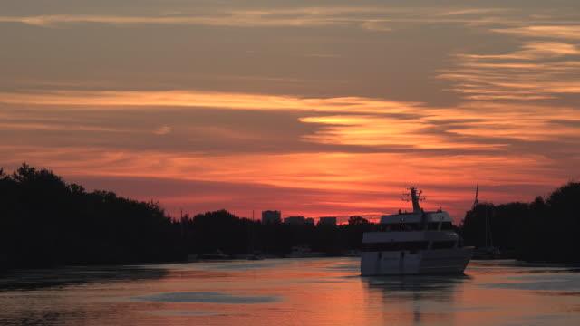 Tourist Cruise at Dusk in Lake Ontario-Toronto,Canada