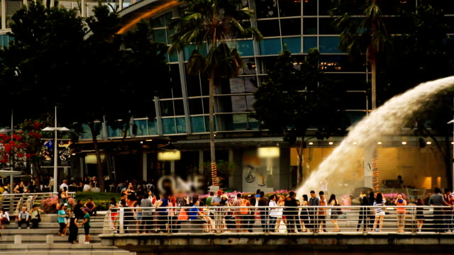 tourist enjoy the singapore trip - merlion fictional character stock videos and b-roll footage