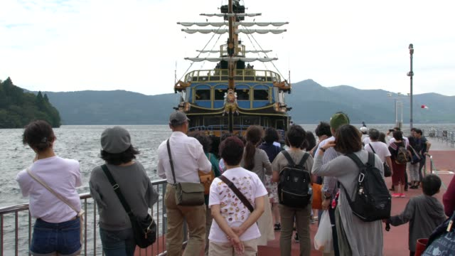 Tourist Enjoying A Boat Ride On A Pirate Ship On Lake Ashi In Hakone, Japan