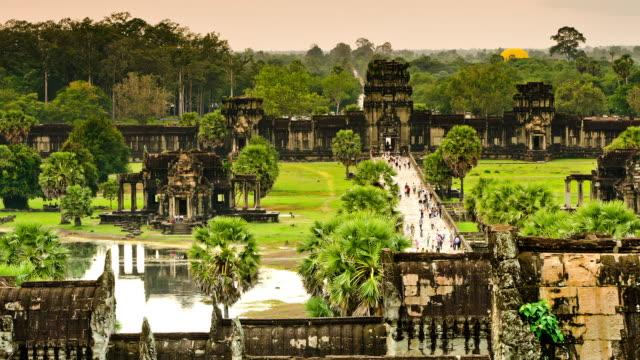 Tourist Explore Ancient Ruins of Angkor Wat, Cambodia