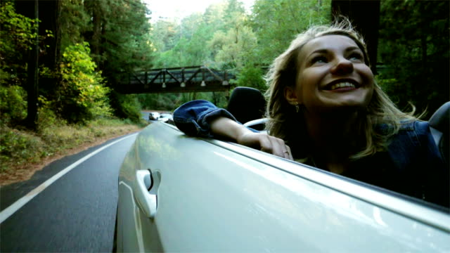tourist exploring california redwoods: driving - convertible stock videos & royalty-free footage