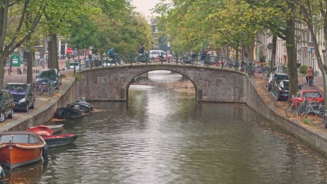 tourist famous place at amsterdam netherlands - canal stock videos & royalty-free footage