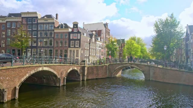tourist famous place at amsterdam netherlands - moat stock videos & royalty-free footage