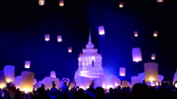 Tourist floating Sky Lantern in Loy Krathong festival in Chiang Mai ,Thailand.