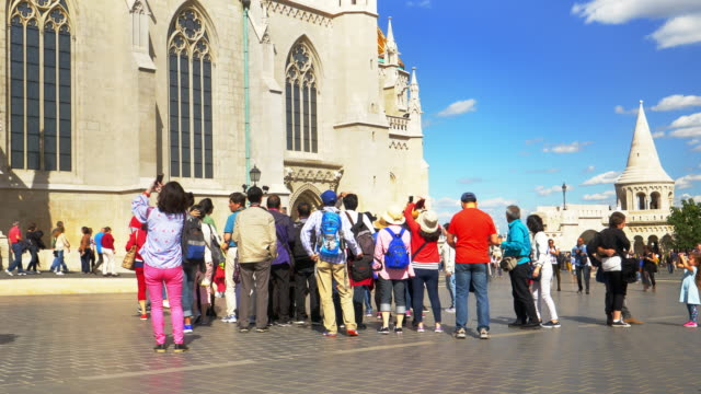 tourist group in budapest fisherman's bastion - budapest stock videos & royalty-free footage