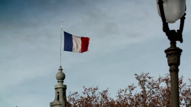 tourist hotspots of paris and the tricolore flag - french flag stock videos & royalty-free footage