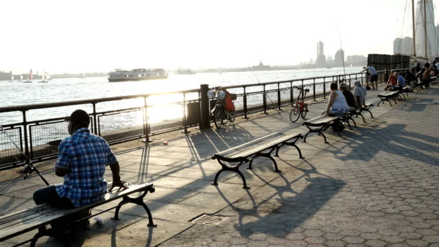 tourist in battery park, new york city - bench stock videos & royalty-free footage