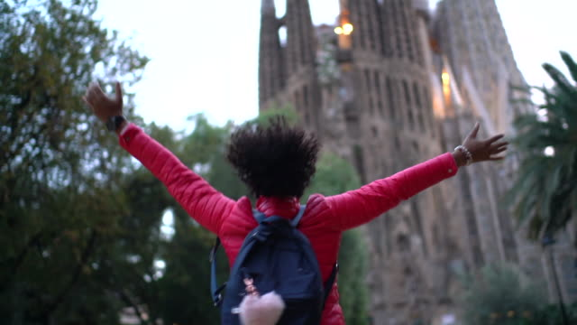 tourist in love with barcelona - tourism stock videos & royalty-free footage