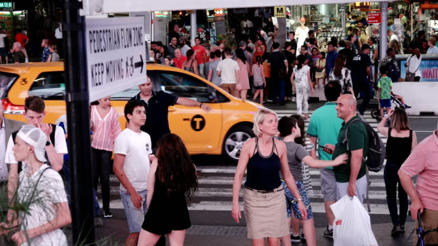 tourist in times square, new york city - manhattan theater district stock videos and b-roll footage