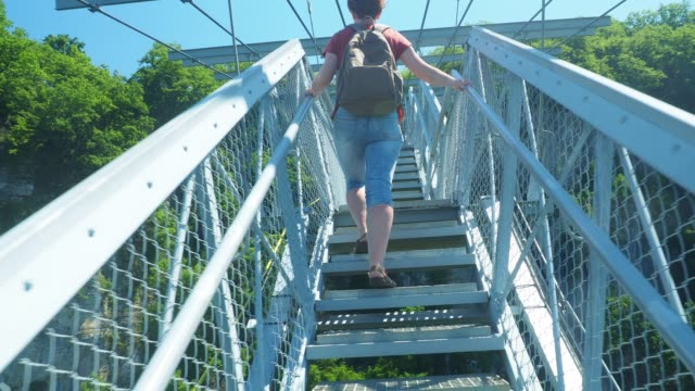 tourist is on sky bridge in sochi - elevated walkway stock videos & royalty-free footage