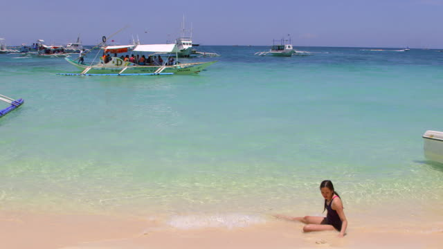 Tourist Jukung Woman In Sand Boracay Island Philippines NO