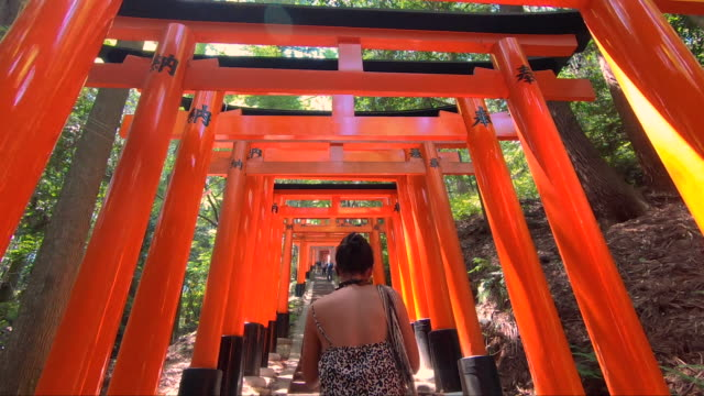 tourist on the fushimi inari temple - shrine stock videos & royalty-free footage
