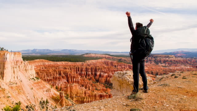 ds tourist punching the air over bryce canyon - punching the air stock videos & royalty-free footage