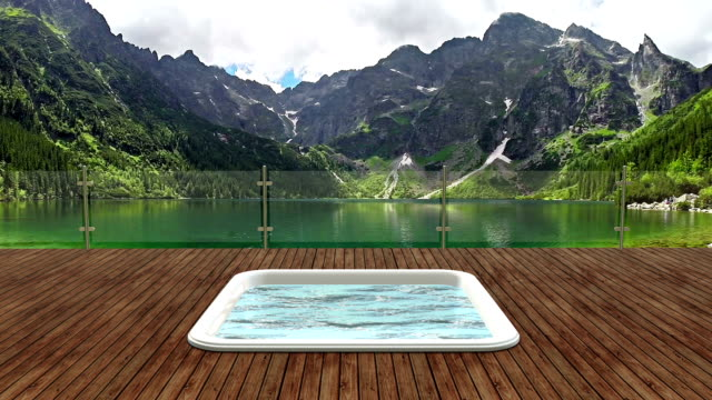 Tourist Resort - Patio with hot tub on beautiful mountain lake. Replace background as you wish.