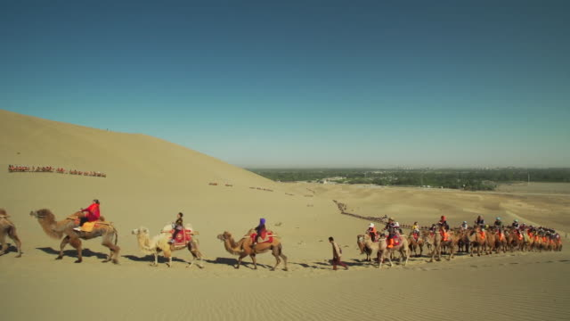 Tourist ride camels through the desert in Western China along the famous Silk Road