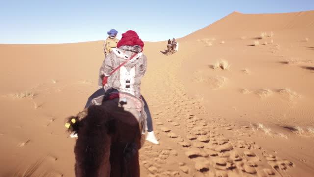 vídeos y material grabado en eventos de stock de tren de camellos en el desierto del sahara, africa - duna de arena