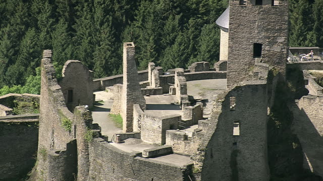 ms aerial ds zo tourist roaming at bourscheid castle in village / luxembourg - luxembourg benelux stock videos & royalty-free footage