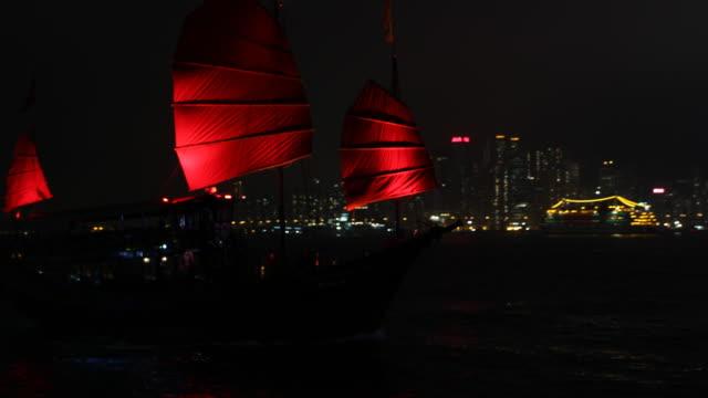 vidéos et rushes de tourist sail boat drifts on the river with hong kong's skyline in the background. - île de hong kong