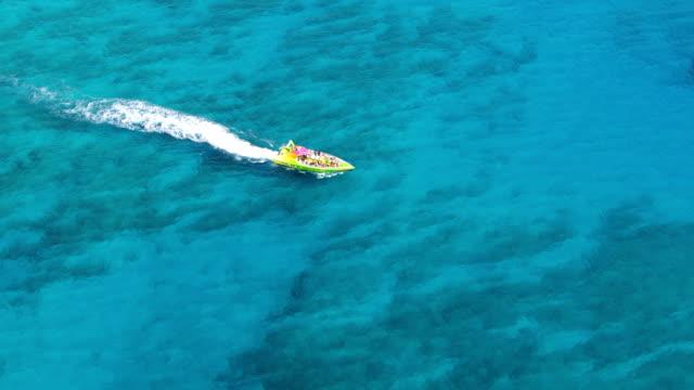vídeos de stock e filmes b-roll de ws aerial tourist speedboat moving in sea / hawaii, united states - barco a motor embarcação de lazer
